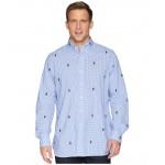 Embroidered Bear Gingham Poplin Sport Shirt Blue/White