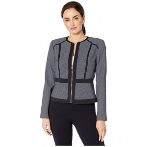 Zip Front Piped Jacket Navy/White