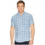 Linen Short Sleeve Sport Shirt Sky Blue/White Multi