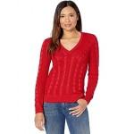 LAUREN Ralph Lauren Cable-Knit V-Neck Sweater Lipstick Red
