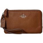 Polished Pebbled Leather Double Corner Zip Bag Silver/Saddle