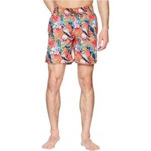 Tropical Print Swim Trunk Coral