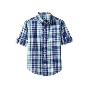 Roll Sleeve Button-Up Shirt (Toddler/Little Kids/Big Kids) Teal Plaid Linen