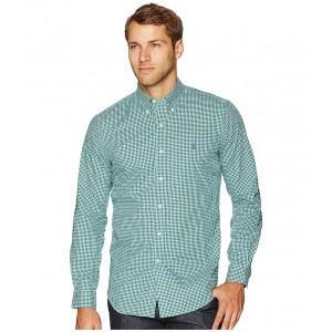 Classic Fit Stretch Poplin Shirt Evergreen/White