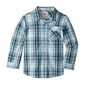 Long Sleeve One-Pocket Plaid Shirt (Little Kids) Allure