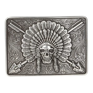 Rectangle Chief Skull Buckle