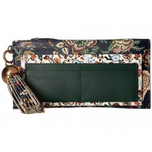 Floral Tassel Top Zip Wallet Navy Small Happy Times