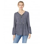 Vine Chain Neck Top True Navy/Chambray