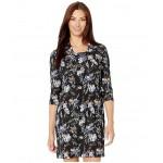Floral Jacquard Ity Draped Neckline Dress Black Multi