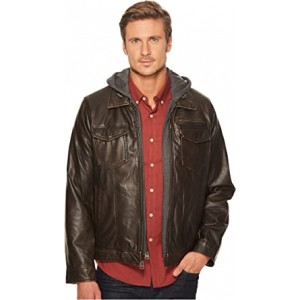 Faux-Leather Trucker with Jersey Hood and Fleece Lining Dark Brown