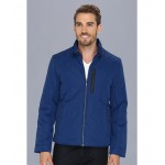 Quilted Jacket w/ Leather Details Blue
