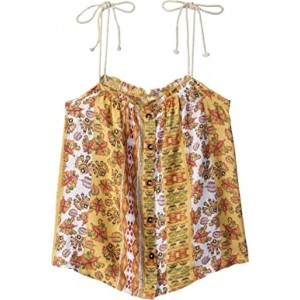 Depths of My Heart Printed Strappy Top (Big Kids) Buff Yellow Girl Vertical Flowers