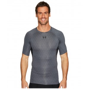 Armour Heatgear Printed S/S Tee Graphite/#/Black