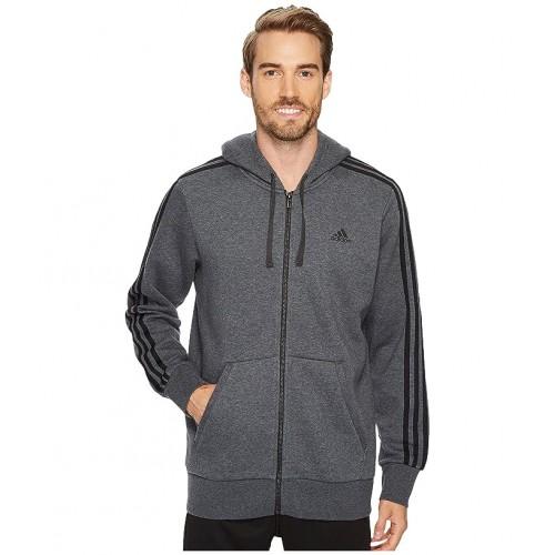 아디다스 Essentials 3S Full Zip Brushed Fleece Hoodie Dark Grey Heather/Black