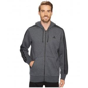 Essentials 3S Full Zip Brushed Fleece Hoodie Dark Grey Heather/Black