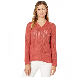 Solid Mesh Stitch V-Neck Long Sleeve Sweater