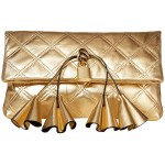 Sofia Loves The Metallic Leather Clutch Gold