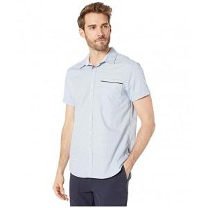 Short Sleeve Mini Square Dot Print Shirt Dusty Blue