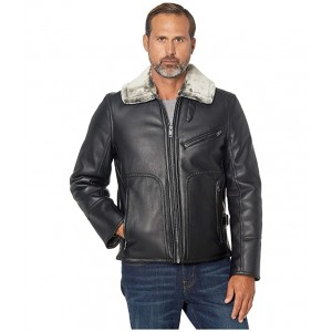 Lenox Faux Leather Jacket with Faux Fur Lining Black