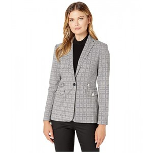 Plaid Blazer with Tabs and Pockets