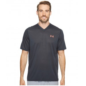 UA Threadborne V-Neck Short Sleeve Anthracite/Marathon Red