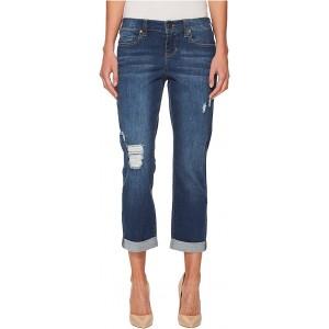 Liverpool Petite Distressed Boyfriend Jeans in Montauk Mid Blue Destu002FIndigo Montauk Mid Blue Dest/Indigo
