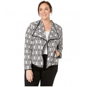 Plus Size Jacket with Faux Leather Trim Black/White Tweed