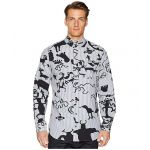 Caveman Print Two-Button Krall Shirt Black/Grey