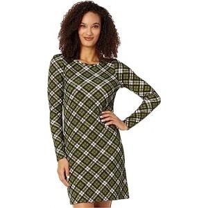 Bias Plaid Long Sleeve Dress