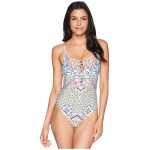 Rosey Tile Sweetheart Lace-Up One-Piece Multi