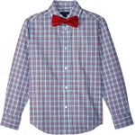 Long Sleeve Stretch Sunny Plaid Shirt w/ Bow Tie (Big Kids)
