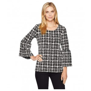 Flare Sleeve Mix Jacquard Top Black Abstract