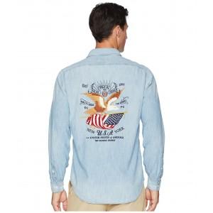 Emrboidered American Chambray Long Sleeve Sport Shirt Indigo Chambray