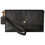 Triple Small Wristlet in Polished Pebble Leather