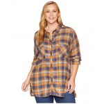 Plus Size Always Adventure Long Sleeve Shirt Canyon Gold Plaid