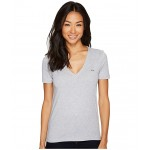 Short Sleeve Solid V-Neck Jersey Tee Silver Chine