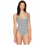 Pique Stripe Mitered Lace Back Mio One-Piece Swimsuit