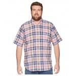 Big & Tall Madras Short Sleeve Sport Shirt Pink/Indigo