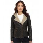 Asymmetrical Faux Leather Hooded Moto w/ Sherpa