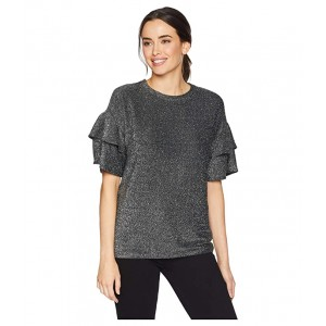 Elevated Double Ruffle Sleeve Top Black/Silver