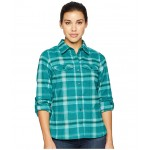 Silver Ridge Long Sleeve Flannel Shirt Dark Ivy Ombre Window Plaid