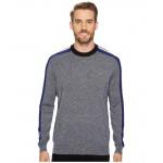 Mouline Jersey & Jacquard Wool Blend Sweater with Stripes On Sleeve Mouline/Navy Blue/Black/Flour/Methylene