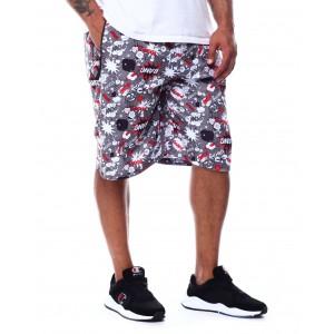 comic pop art printed scuba shorts (b&t)
