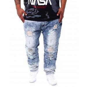 shredded jeans with paint splatter spots (b&t)