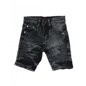 washed stretch moto denim shorts (2t-4t)