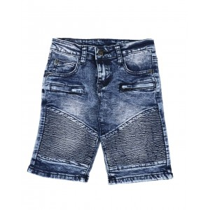 washed cut & sew moto denim shorts (4-7)