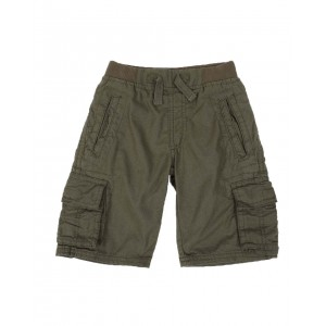 washed twill jogger cargo shorts w/ rib waistband (4-7)