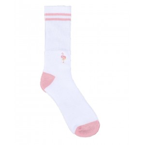 flamingo embroidery socks