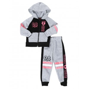 2 pc 08 cute zip front hoodie & jogger pants set (2t-4t)