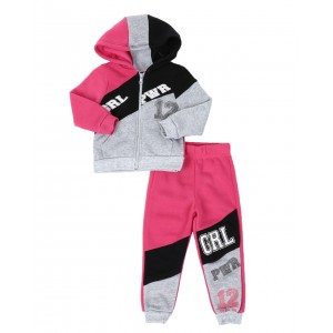 2 pc grl pwr color block zip front hoodie & jogger pants set (2t-4t)